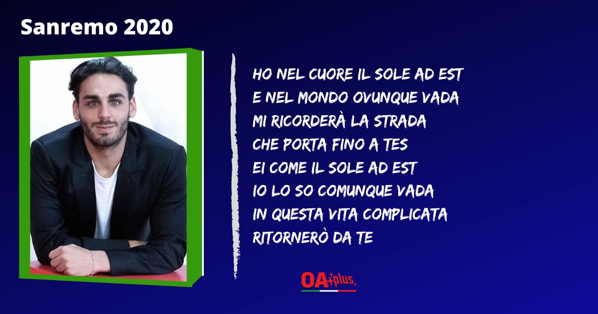 """TV, Sanremo 2020. Alberto Urso: testo e autori della canzone """"Il sole ad est"""""""