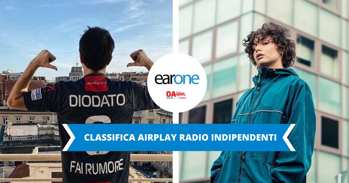 """Classifica radio indipendenti EarOne: il """"campione"""" Diodato ancora alla 1, Madame guadagna la TOP 10"""