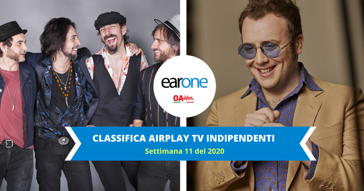 Classifica EarOne airplay tv indipendenti, settimana 9 del 2020: Le Vibrazioni Scavalcano Ghali. In salita Raphael Gualazzi