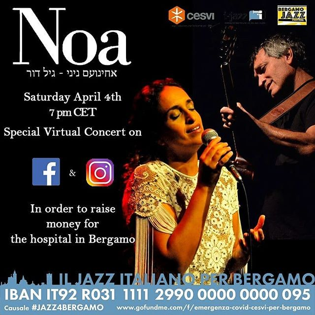 """Ecco il video di """"La vita è bella"""" cantata live da Noa per Bergamo  nel concerto streaming di ieri sera"""