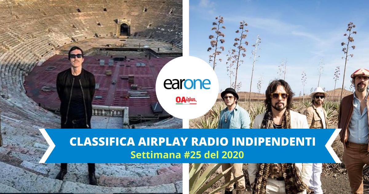 EarOne Classifica Radio Indipendenti, settimana 25 del 2020: Diodato verso la vetta mentre le Vibrazioni conquistano la Top 10