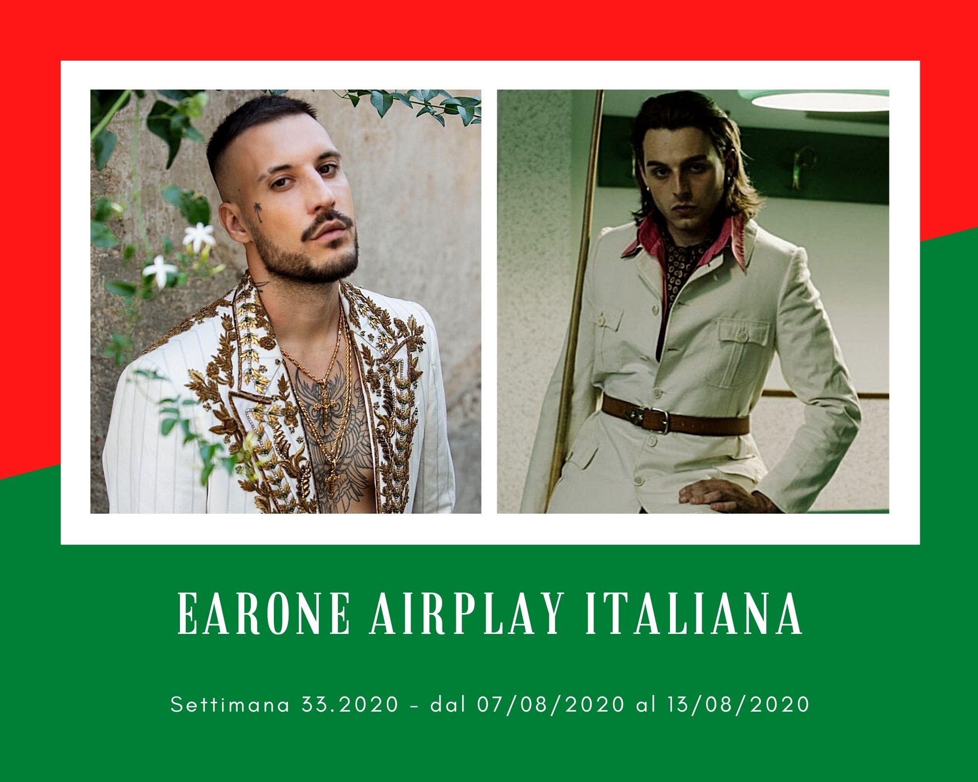 Classifica Radio EarOne Airplay Italiana, week 33: Fred De Palma ritorna in top 10 con Anitta, Mahmood si sdoppia e Ernia spopola