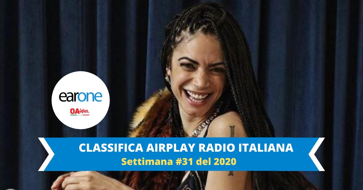 """EarOne Classifica Airplay Radio Italiana, settimana 31 del 2020: Elodie sale sul podio con due brani in top 10, """"Ciclone"""" e """"Guaranà"""""""