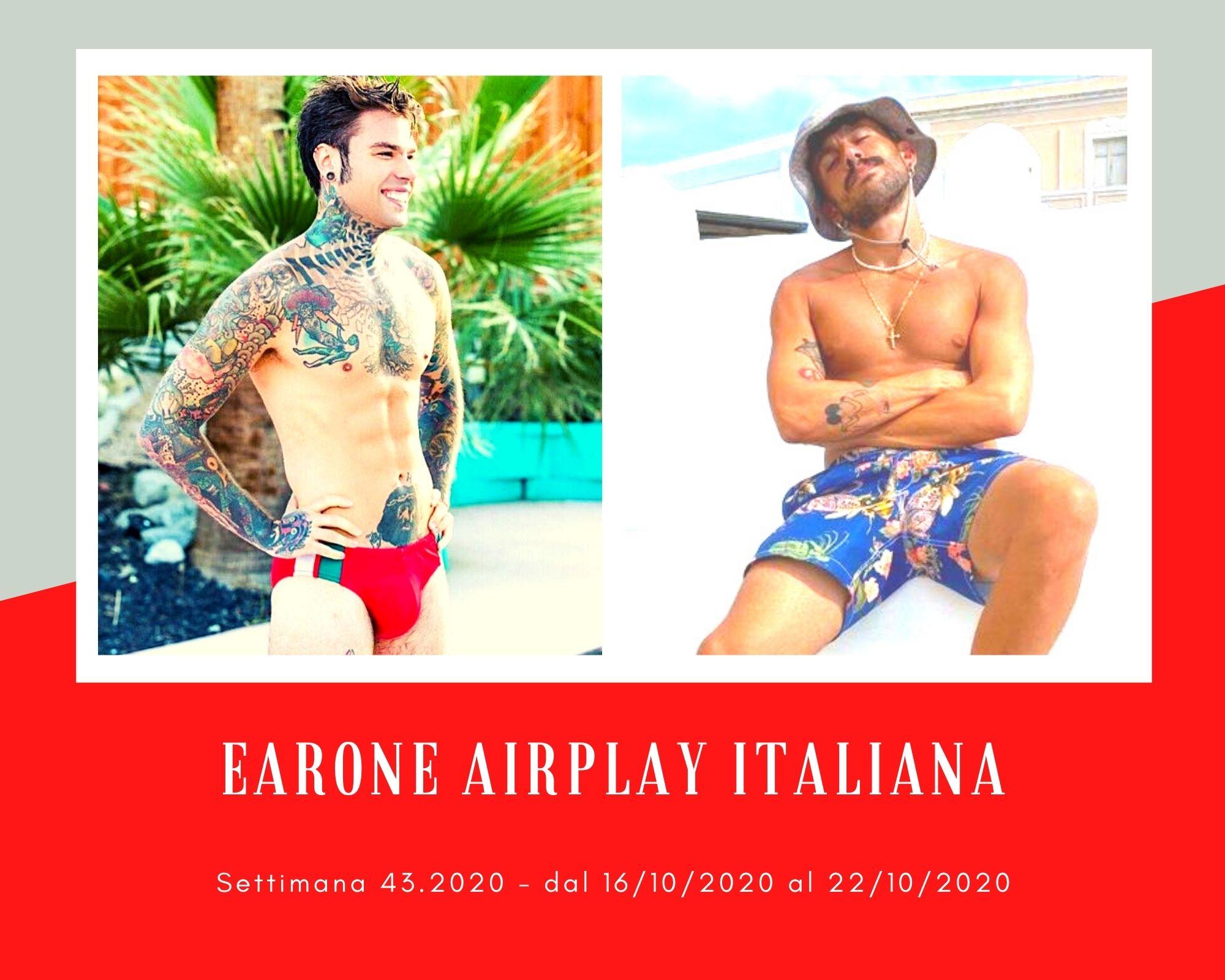 Classifica Radio EARONE Airplay Italiana, week 43. Fedez svetta, ma Aiello ha la canzone giusta per il sorpasso