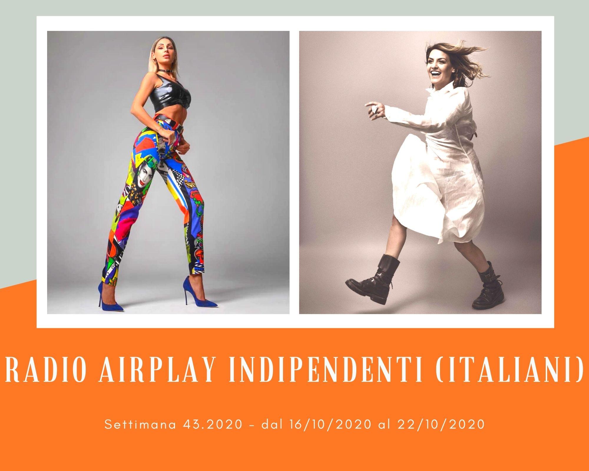 Classifica RADIO AIRPLAY Indipendenti Italiani, week 43. Anna Tatangelo entra in coppia. Francesco Gabbani fa tripletta, Irene Grandi doppietta