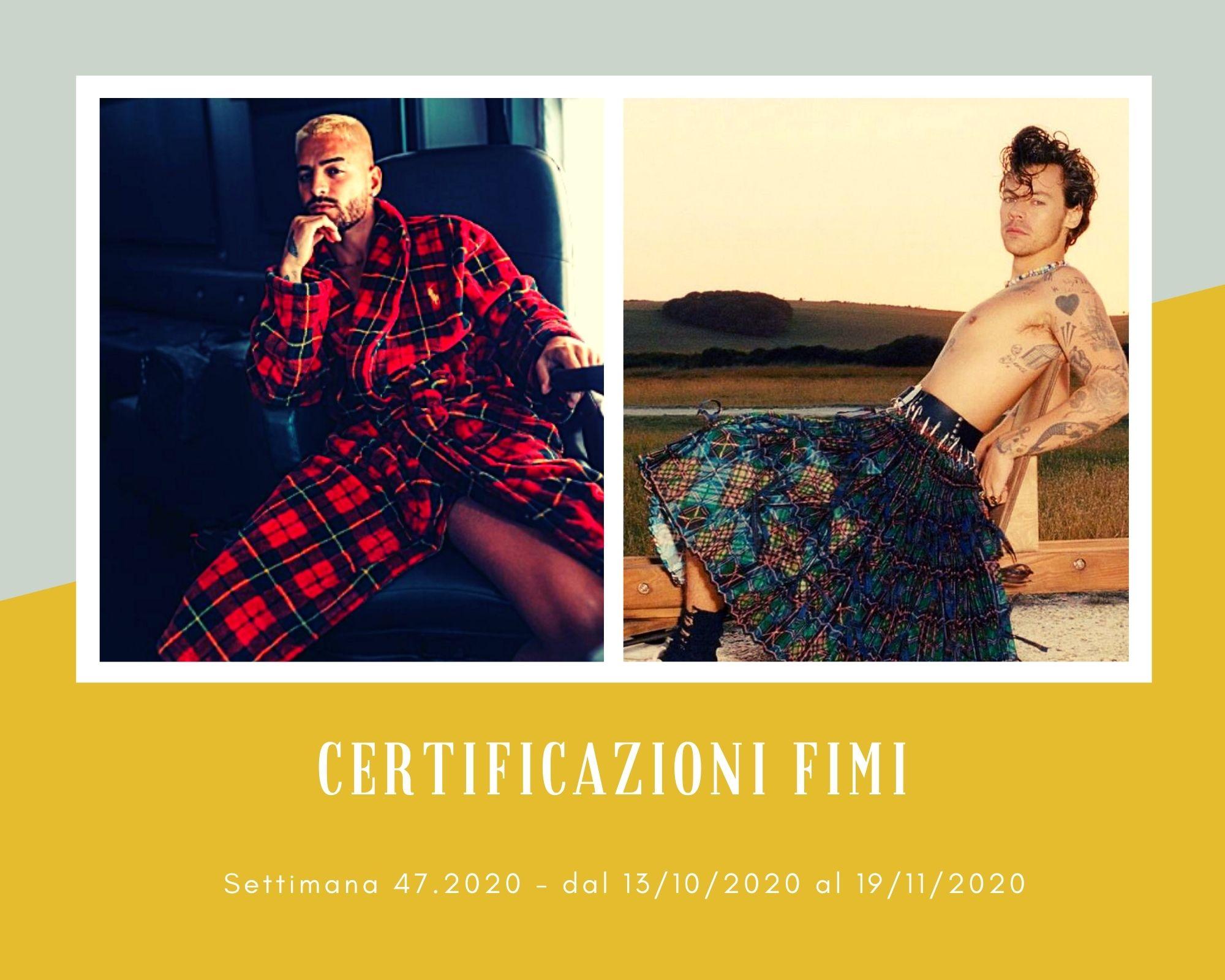 Certificazioni FIMI, week 47. L'Italia pazza di Maluma e Harry Styles, divi del pop contemporaneo
