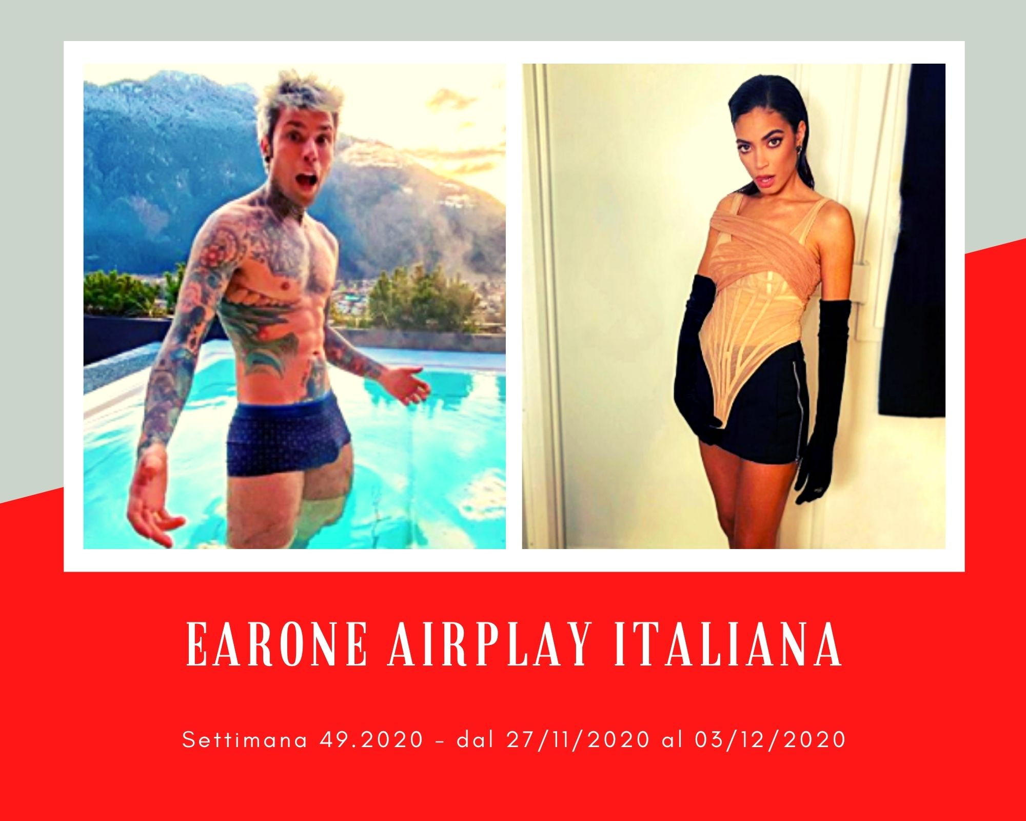 Classifica Radio EARONE Airplay Italiana, week 49. Fedez ritorna in vetta ed Elodie brinda al suo successo