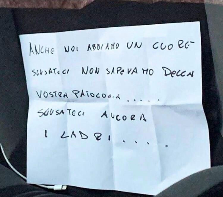 """Ladri restituiscono la macchina rubata: """"Non sapevamo della vostra patologia, chiediamo scusa"""""""