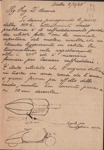 Piaggio_lettera_sul_prototipo_di_Vespa_MP3_Biella_1945_, Archivio di Stato di Pescara