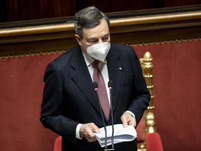 """Mario Draghi al Senato: """"Se la situazione contagi lo consentirà, riapriremo le scuole anche nelle zone rosse, speriamo subito dopo Pasqua"""""""